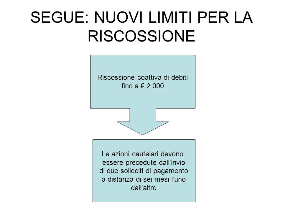 SEGUE: NUOVI LIMITI PER LA RISCOSSIONE Riscossione coattiva di debiti fino a 2.000 Le azioni cautelari devono essere precedute dallinvio di due sollec