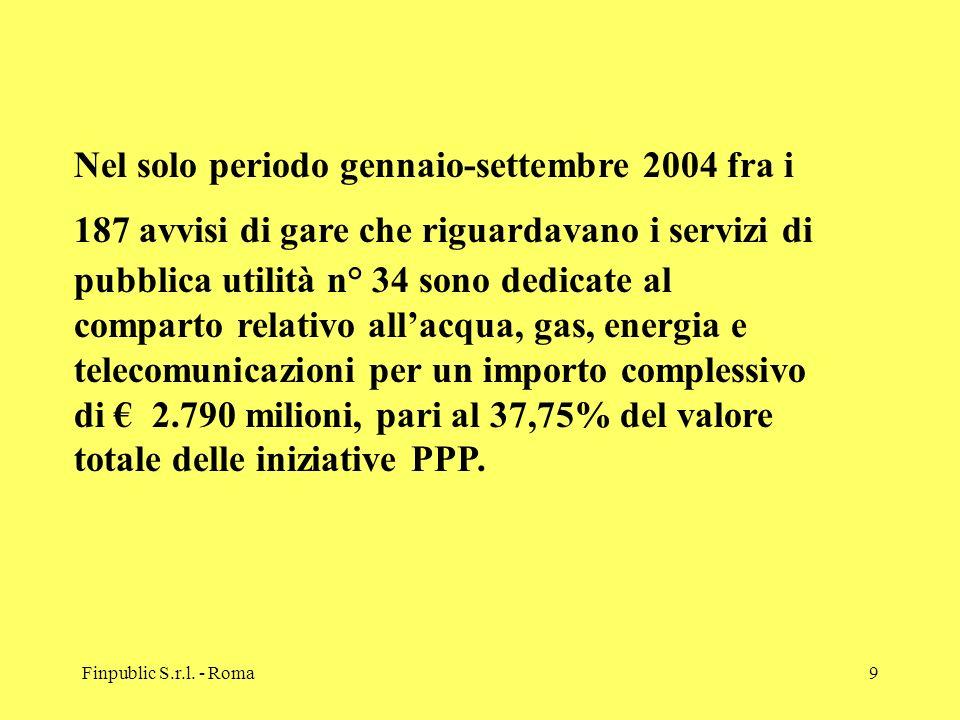 Finpublic S.r.l. - Roma9 Nel solo periodo gennaio-settembre 2004 fra i 187 avvisi di gare che riguardavano i servizi di pubblica utilità n° 34 sono de
