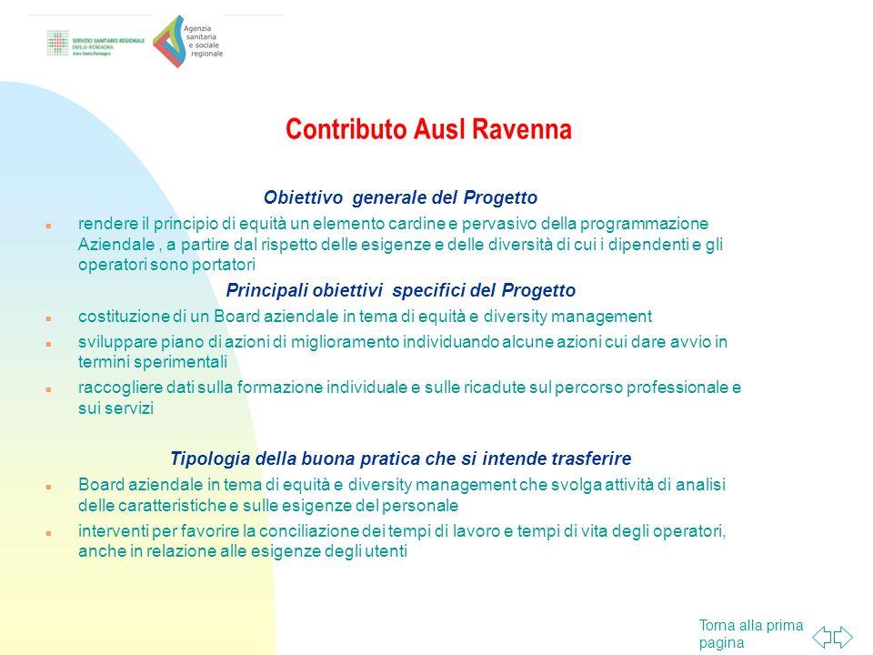 Torna alla prima pagina Contributo Ausl Rimini Obiettivo generale del Progetto sottoporre ad una valutazione di equità ogni buona pratica che le altre Ausl dell AVR intendono diffondere, in particolare attraverso momenti di formazione e condivisione.