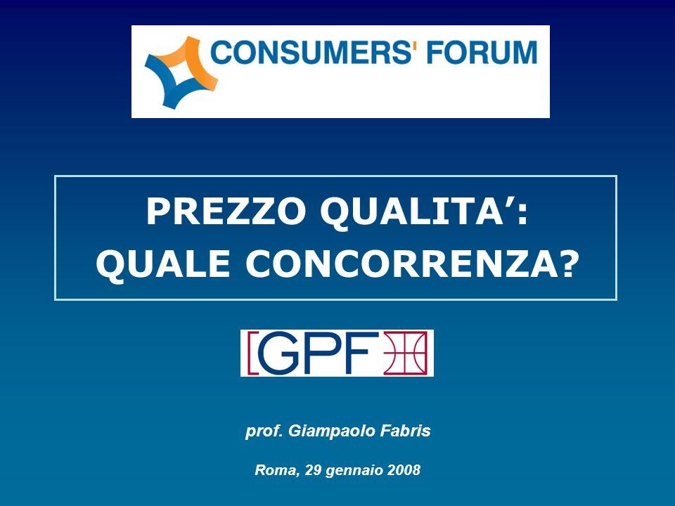 PREZZO QUALITA: QUALE CONCORRENZA? prof. Giampaolo Fabris Roma, 29 gennaio 2008