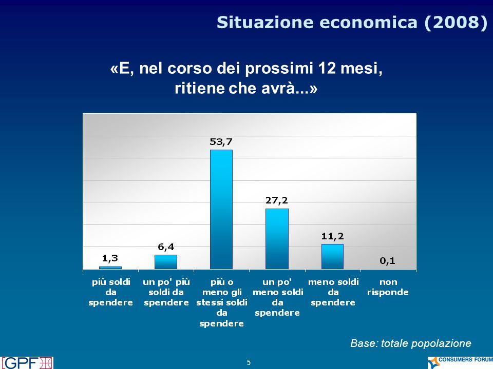 5 Situazione economica (2008) «E, nel corso dei prossimi 12 mesi, ritiene che avrà...» Base: totale popolazione