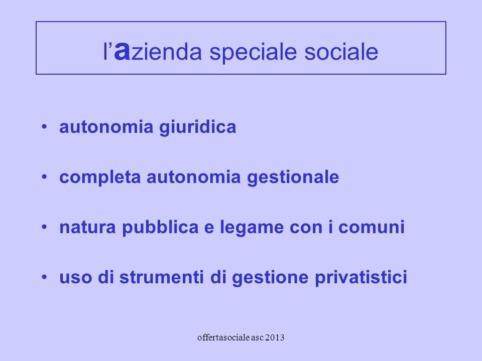offertasociale asc 2013 l a zienda speciale sociale autonomia giuridica completa autonomia gestionale natura pubblica e legame con i comuni uso di strumenti di gestione privatistici