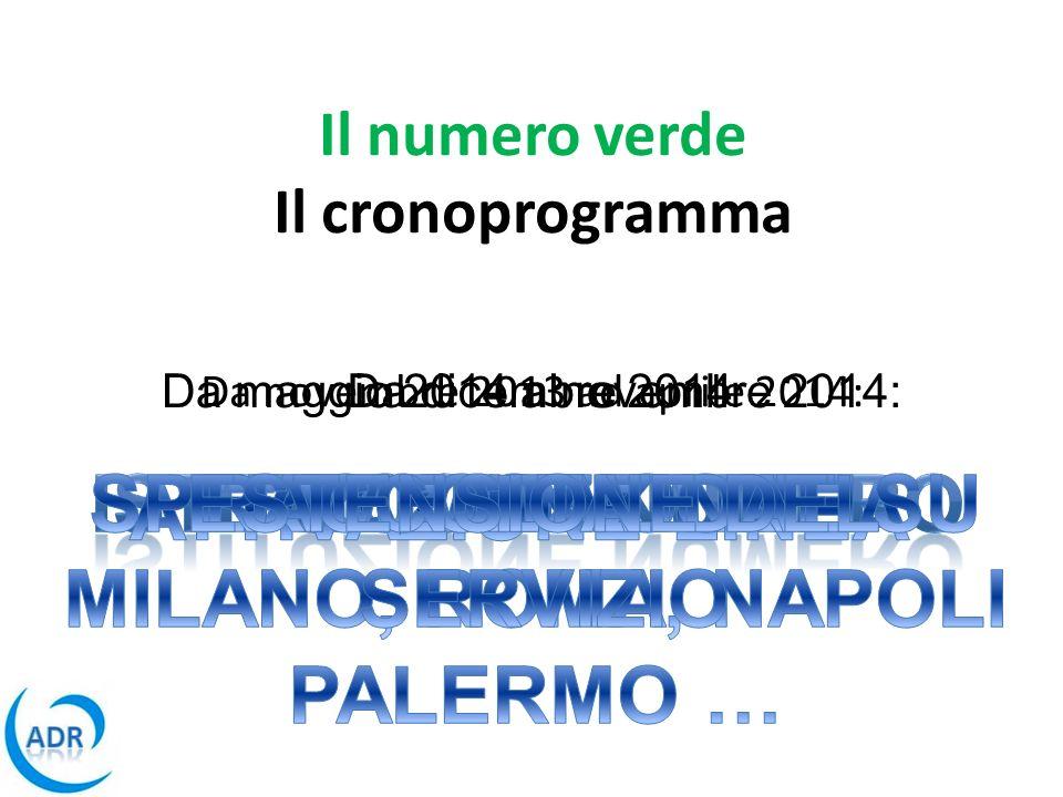 Il numero verde Il cronoprogramma Da novembre 2013 ad aprile 2014: Da maggio 2014 a novembre 2014:Da dicembre 2014