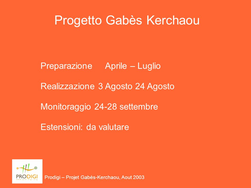 Prodigi – Projet Gabès-Kerchaou, Aout 2003 Progetto Gabès Kerchaou Preparazione Aprile – Luglio Realizzazione 3 Agosto 24 Agosto Monitoraggio 24-28 settembre Estensioni: da valutare
