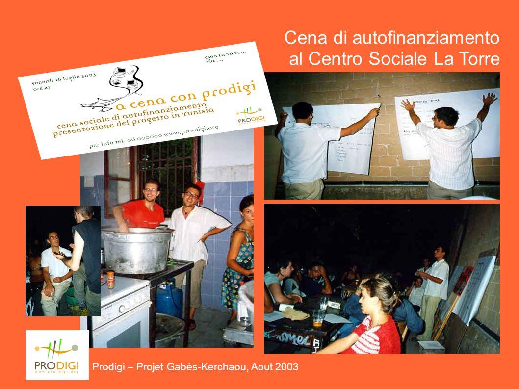 Prodigi – Projet Gabès-Kerchaou, Aout 2003 Cena di autofinanziamento al Centro Sociale La Torre