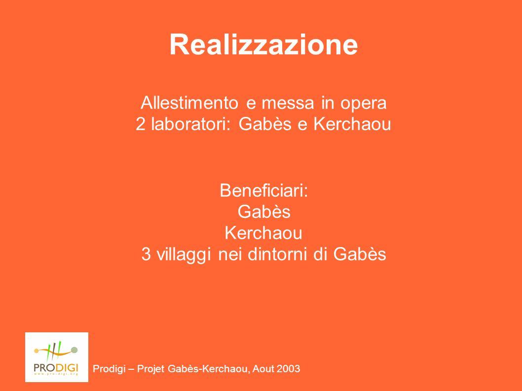 Prodigi – Projet Gabès-Kerchaou, Aout 2003 Realizzazione Allestimento e messa in opera 2 laboratori: Gabès e Kerchaou Beneficiari: Gabès Kerchaou 3 villaggi nei dintorni di Gabès