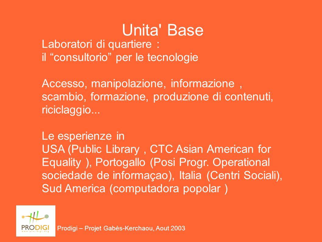 Unita Base Laboratori di quartiere : il consultorio per le tecnologie Accesso, manipolazione, informazione, scambio, formazione, produzione di contenuti, riciclaggio...