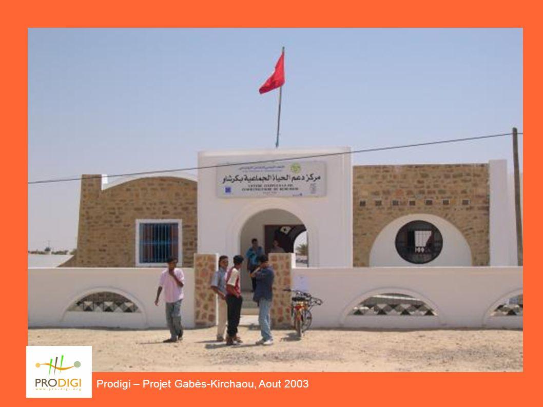 Il Progetto Prodigi – Projet Gabès-Kerchaou, Aout 2003 Premessa: richiesta di un laboratorio informatico da parte della Comunità di Kerchaou ESIGENZA LOCALE in una COMUNITA STRUTTURATA