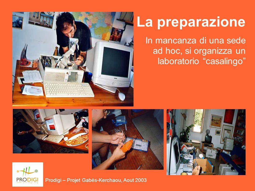 I laboratori sono realizzati con: Prodigi – Projet Gabès-Kerchaou, Aout 2003 Macchine ottenute da donazioni di enti pubblici equipaggiate con Linux Spazi forniti dai beneficiari (Stanze, tavoli, elettricità e connettività)