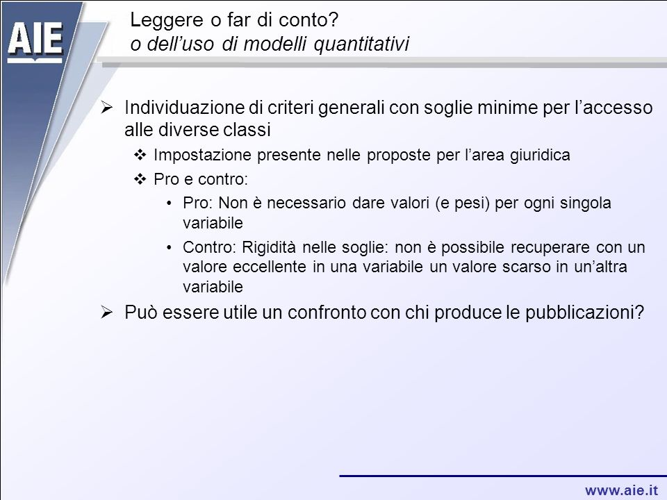 www.aie.it Leggere o far di conto.