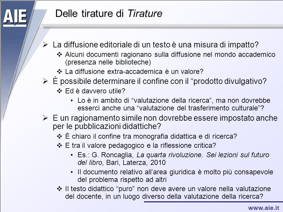 www.aie.it Delle tirature di Tirature La diffusione editoriale di un testo è una misura di impatto.