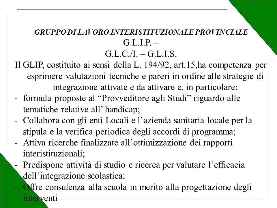 GRUPPO DI LAVORO INTERISTITUZIONALE PROVINCIALE G.L.I.P.