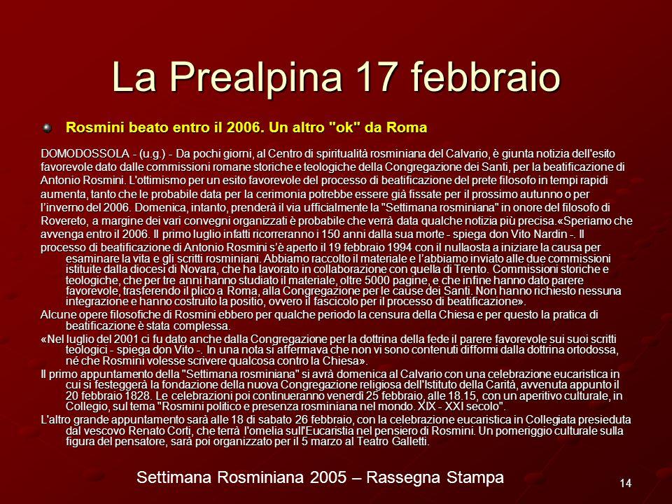 Settimana Rosminiana 2005 – Rassegna Stampa 14 La Prealpina 17 febbraio Rosmini beato entro il 2006. Un altro