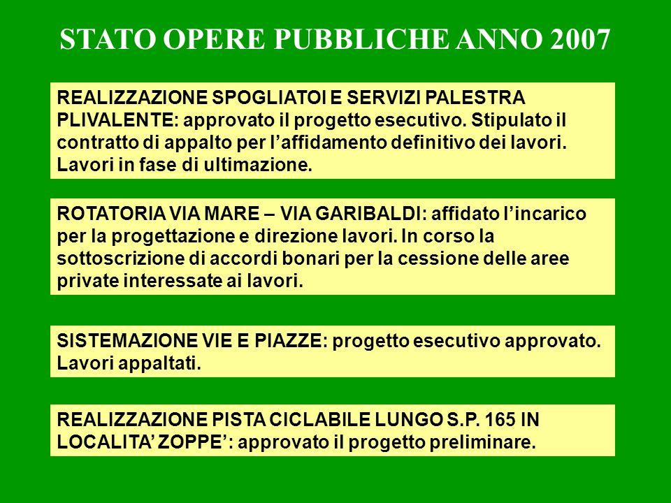 STATO OPERE PUBBLICHE ANNO 2007 REALIZZAZIONE SPOGLIATOI E SERVIZI PALESTRA PLIVALENTE: approvato il progetto esecutivo.