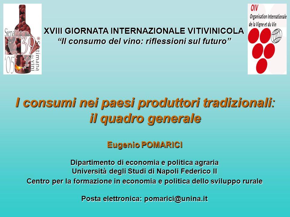 XVIII GIORNATA INTERNAZIONALE VITIVINICOLA Il consumo del vino: riflessioni sul futuro I consumi nei paesi produttori tradizionali: il quadro generale