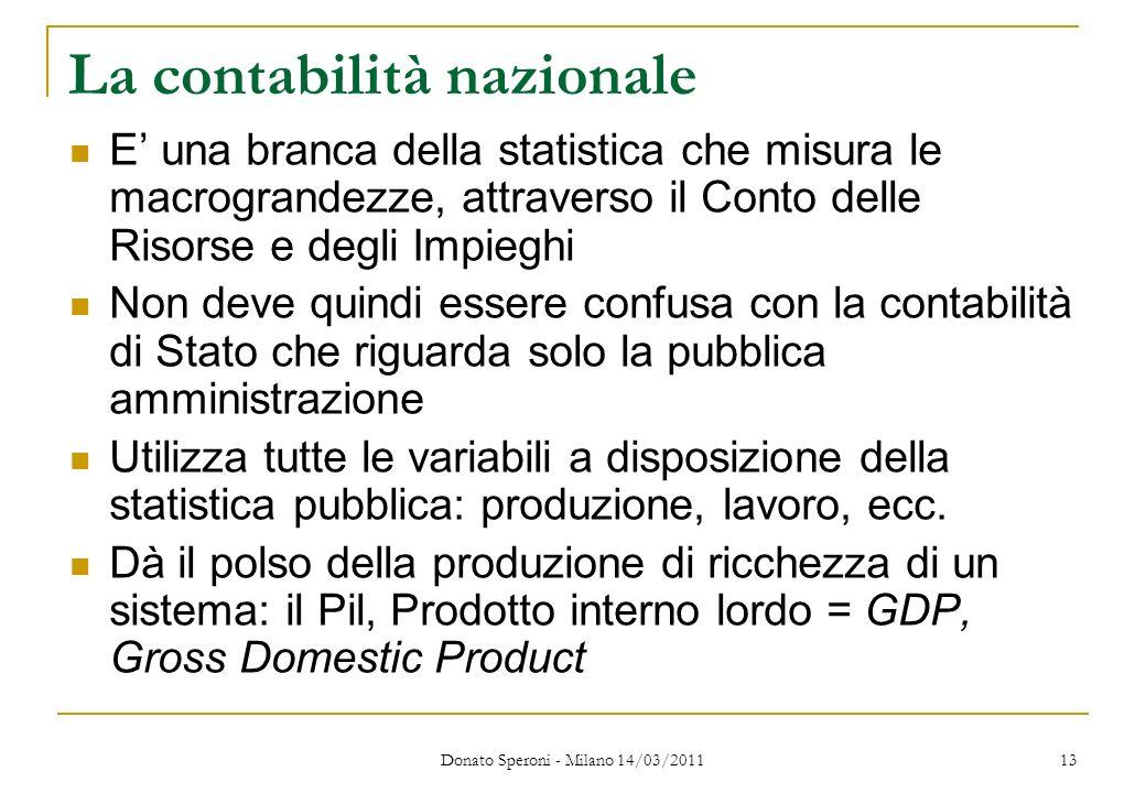 Donato Speroni - Milano 14/03/2011 13 La contabilità nazionale E una branca della statistica che misura le macrograndezze, attraverso il Conto delle R
