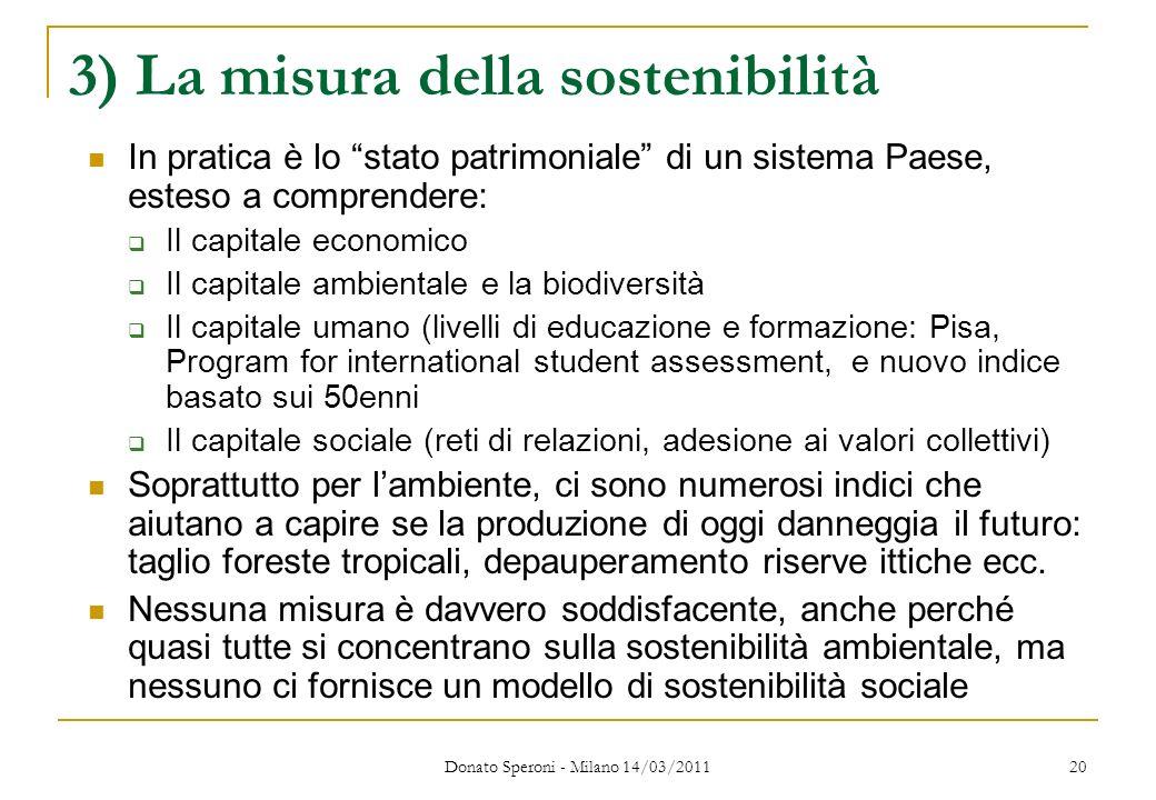 Donato Speroni - Milano 14/03/2011 20 3) La misura della sostenibilità In pratica è lo stato patrimoniale di un sistema Paese, esteso a comprendere: I