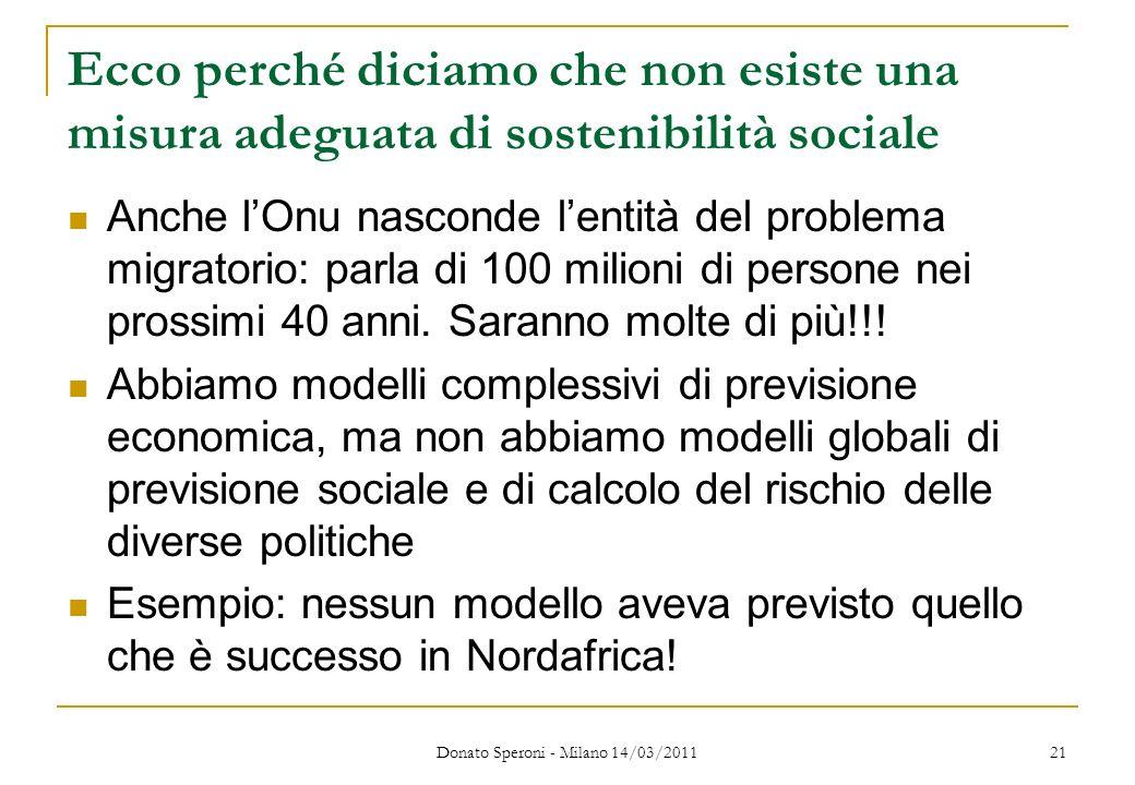 Ecco perché diciamo che non esiste una misura adeguata di sostenibilità sociale Anche lOnu nasconde lentità del problema migratorio: parla di 100 mili