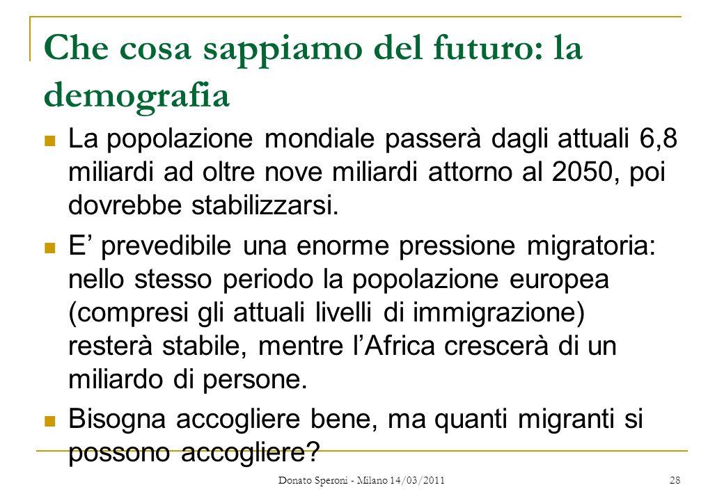 Che cosa sappiamo del futuro: la demografia La popolazione mondiale passerà dagli attuali 6,8 miliardi ad oltre nove miliardi attorno al 2050, poi dov