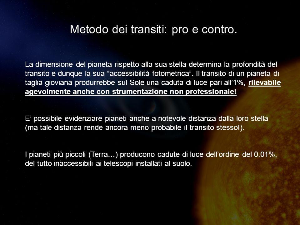 Metodo dei transiti: pro e contro.