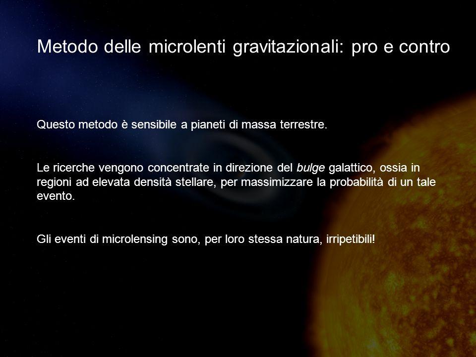 Metodo delle microlenti gravitazionali: pro e contro Questo metodo è sensibile a pianeti di massa terrestre.
