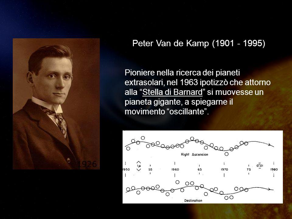 Peter Van de Kamp (1901 - 1995) Pioniere nella ricerca dei pianeti extrasolari, nel 1963 ipotizzò che attorno alla Stella di Barnard si muovesse un pianeta gigante, a spiegarne il movimento oscillante.
