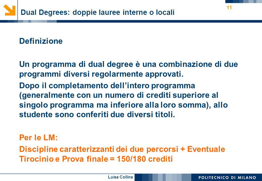 Luisa Collina Dual Degrees: doppie lauree interne o locali 11 Definizione Un programma di dual degree è una combinazione di due programmi diversi rego