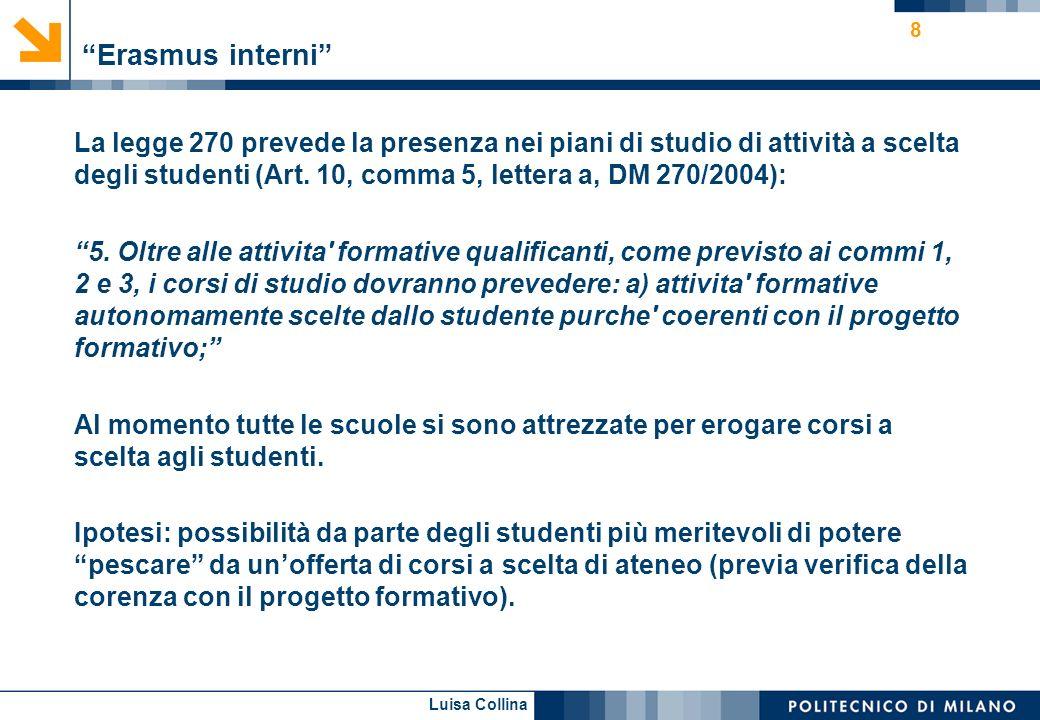 Luisa Collina 8 Erasmus interni La legge 270 prevede la presenza nei piani di studio di attività a scelta degli studenti (Art. 10, comma 5, lettera a,