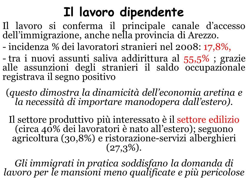 Il lavoro dipendente Il lavoro si conferma il principale canale daccesso dellimmigrazione, anche nella provincia di Arezzo. - incidenza % dei lavorato