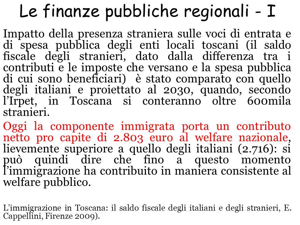 Le finanze pubbliche regionali - I Impatto della presenza straniera sulle voci di entrata e di spesa pubblica degli enti locali toscani (il saldo fisc