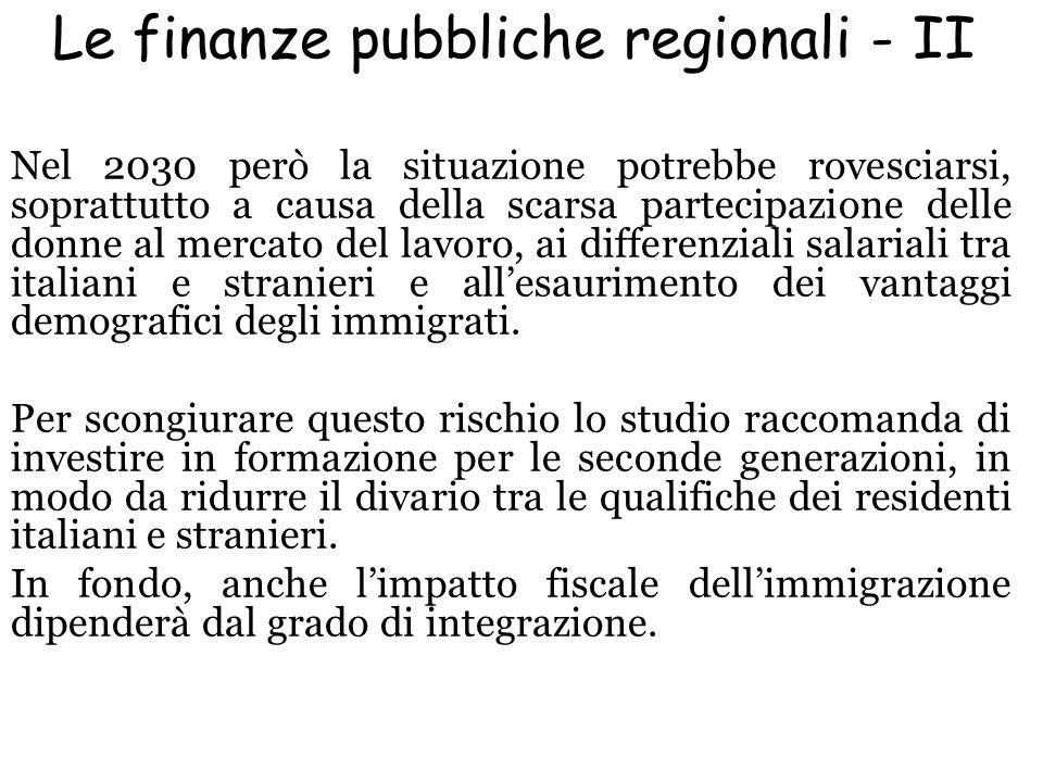 Le finanze pubbliche regionali - II Nel 2030 però la situazione potrebbe rovesciarsi, soprattutto a causa della scarsa partecipazione delle donne al m