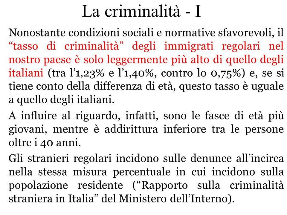 Nonostante condizioni sociali e normative sfavorevoli, il tasso di criminalità degli immigrati regolari nel nostro paese è solo leggermente più alto d