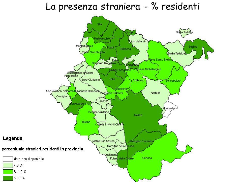 La presenza straniera - % residenti