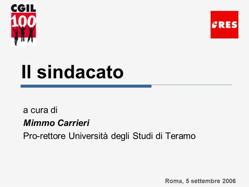 Il sindacato a cura di Mimmo Carrieri Pro-rettore Università degli Studi di Teramo Roma, 5 settembre 2006