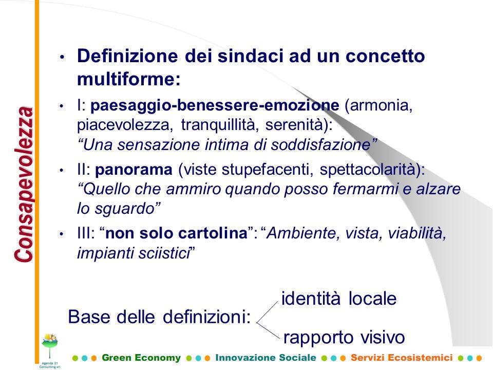Definizione dei sindaci ad un concetto multiforme: I: paesaggio-benessere-emozione (armonia, piacevolezza, tranquillità, serenità): Una sensazione int