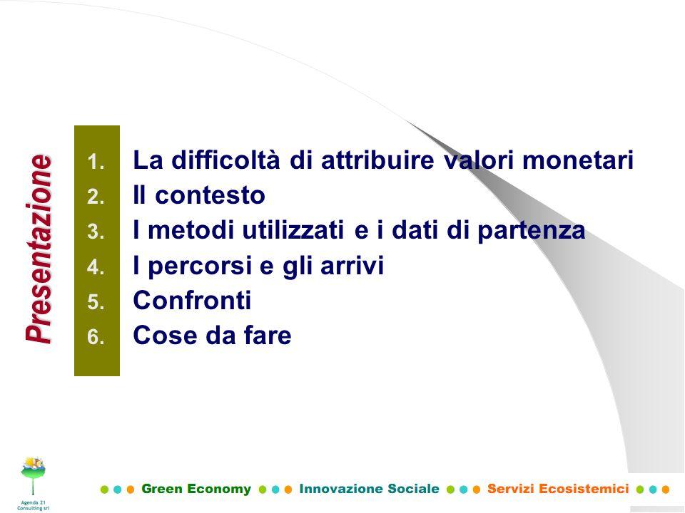 1. La difficoltà di attribuire valori monetari 2. Il contesto 3. I metodi utilizzati e i dati di partenza 4. I percorsi e gli arrivi 5. Confronti 6. C