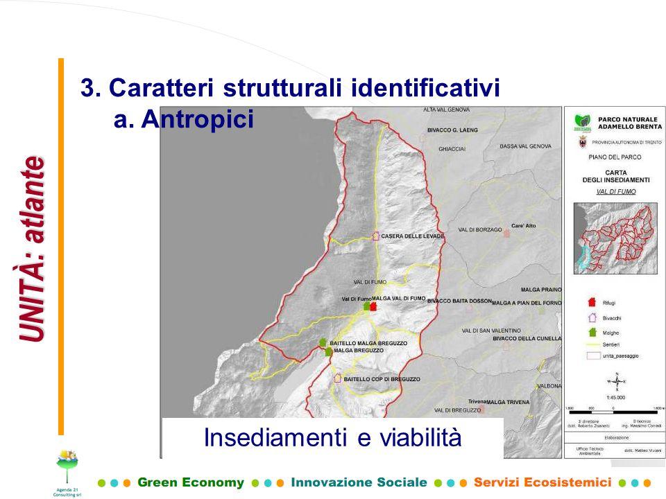 UNITÀ: atlante 3. Caratteri strutturali identificativi a. Antropici Insediamenti e viabilità