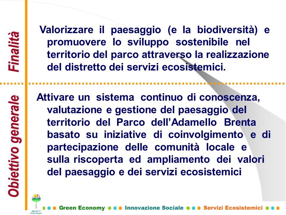 Obiettivo generale Finalità Valorizzare il paesaggio (e la biodiversità) e promuovere lo sviluppo sostenibile nel territorio del parco attraverso la r