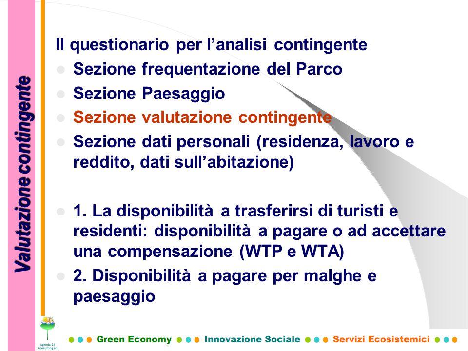 Il questionario per lanalisi contingente Sezione frequentazione del Parco Sezione Paesaggio Sezione valutazione contingente Sezione dati personali (re