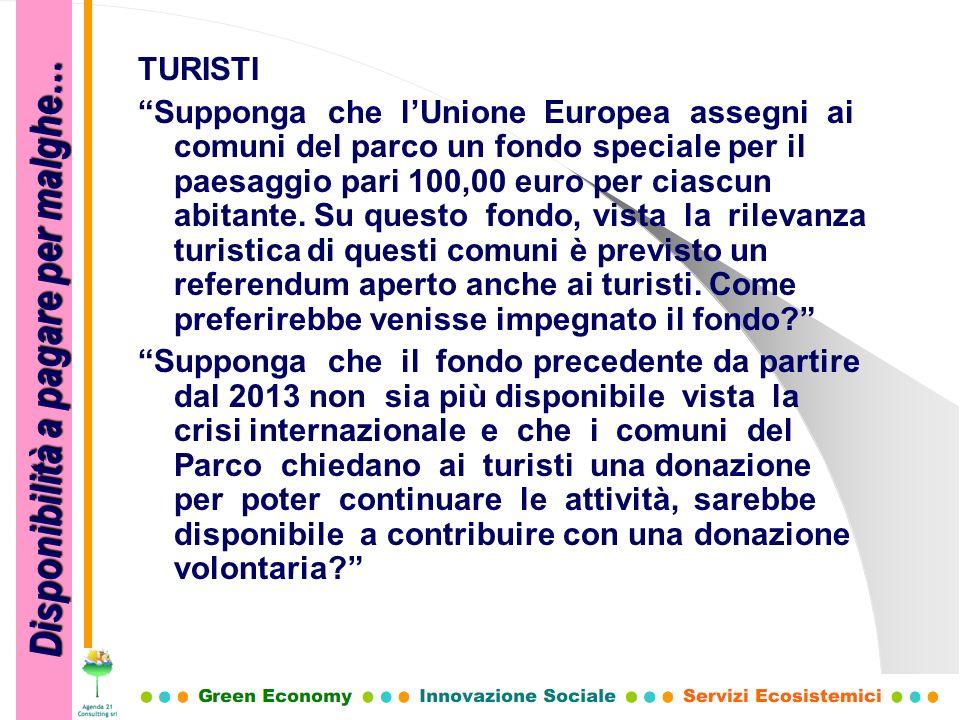 TURISTI Supponga che lUnione Europea assegni ai comuni del parco un fondo speciale per il paesaggio pari 100,00 euro per ciascun abitante. Su questo f