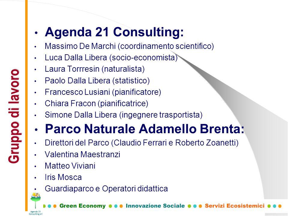 Agenda 21 Consulting: Massimo De Marchi (coordinamento scientifico) Luca Dalla Libera (socio-economista) Laura Torrresin (naturalista) Paolo Dalla Lib