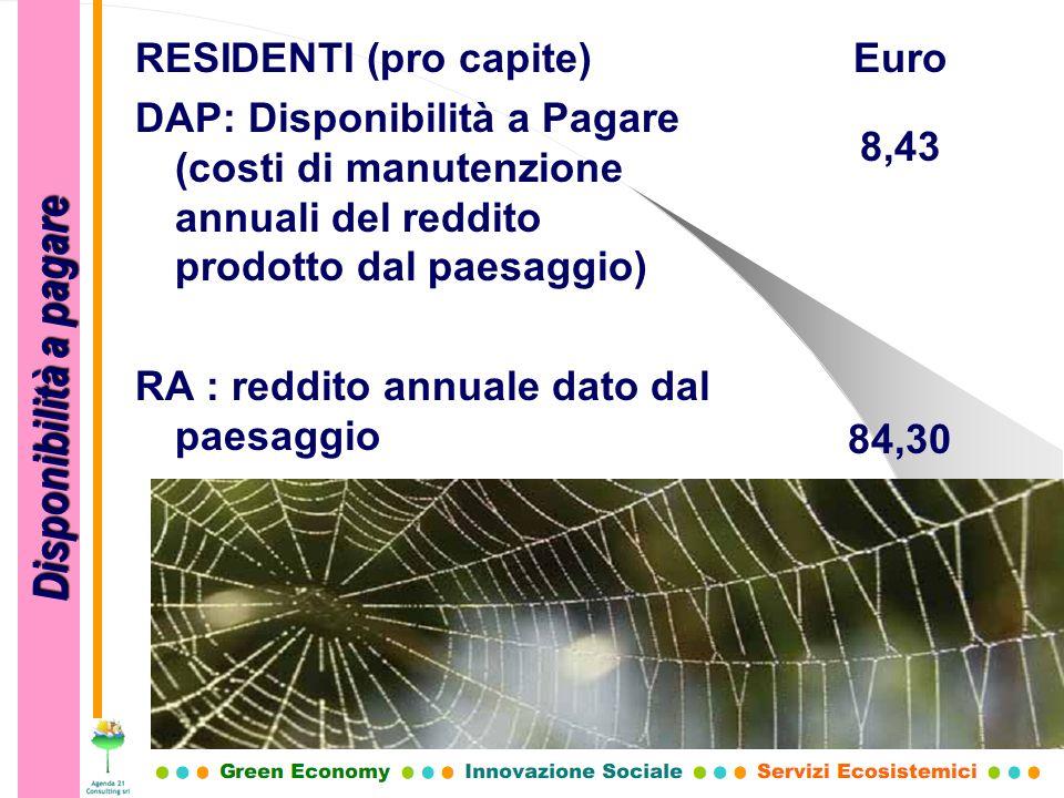 RESIDENTI (pro capite) DAP: Disponibilità a Pagare (costi di manutenzione annuali del reddito prodotto dal paesaggio) RA : reddito annuale dato dal pa