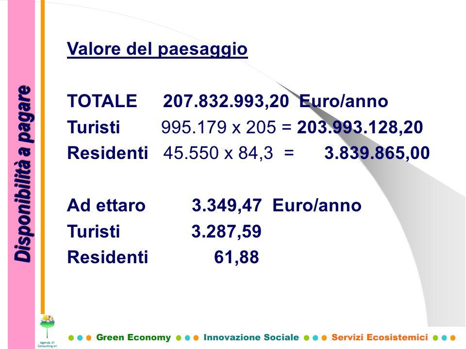 Disponibilità a pagare Valore del paesaggio TOTALE 207.832.993,20 Euro/anno Turisti 995.179 x 205 = 203.993.128,20 Residenti 45.550 x 84,3 = 3.839.865