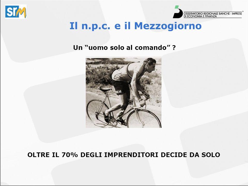 Un uomo solo al comando ? Il n.p.c. e il Mezzogiorno OLTRE IL 70% DEGLI IMPRENDITORI DECIDE DA SOLO
