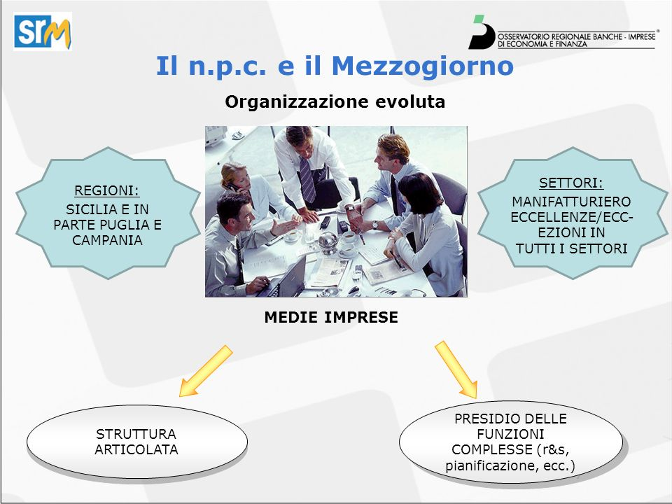 Organizzazione evoluta Il n.p.c. e il Mezzogiorno PRESIDIO DELLE FUNZIONI COMPLESSE (r&s, pianificazione, ecc.) STRUTTURA ARTICOLATA MEDIE IMPRESE REG