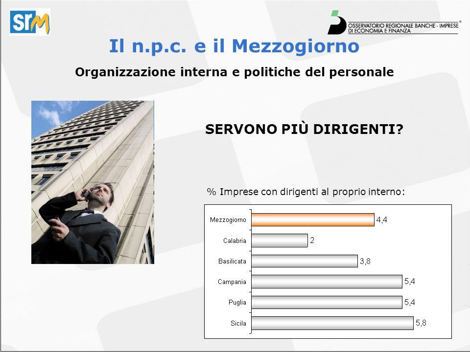 Organizzazione interna e politiche del personale SERVONO PIÙ DIRIGENTI? Il n.p.c. e il Mezzogiorno % Imprese con dirigenti al proprio interno: