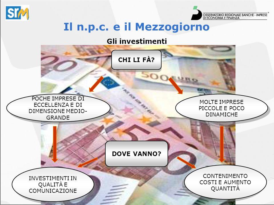 Il n.p.c. e il Mezzogiorno Gli investimenti POCHE IMPRESE DI ECCELLENZA E DI DIMENSIONE MEDIO- GRANDE INVESTIMENTI IN QUALITÀ E COMUNICAZIONE CONTENIM