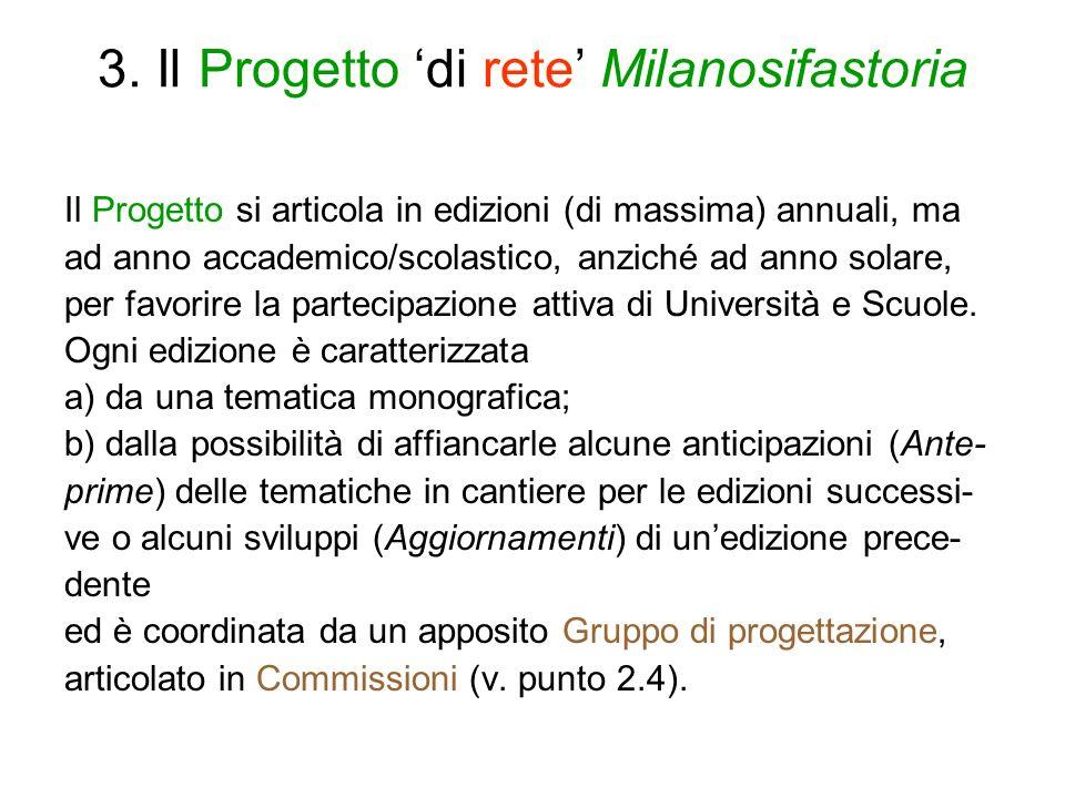 3. Il Progetto di rete Milanosifastoria Il Progetto si articola in edizioni (di massima) annuali, ma ad anno accademico/scolastico, anziché ad anno so