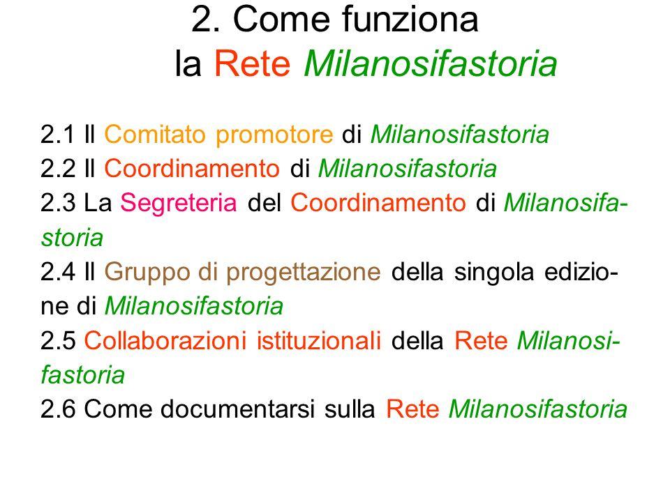 2. Come funziona la Rete Milanosifastoria 2.1 Il Comitato promotore di Milanosifastoria 2.2 Il Coordinamento di Milanosifastoria 2.3 La Segreteria del