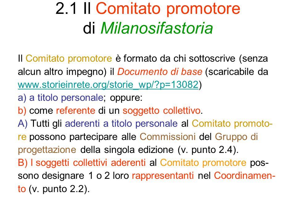 2.1 Il Comitato promotore di Milanosifastoria Il Comitato promotore è formato da chi sottoscrive (senza alcun altro impegno) il Documento di base (sca